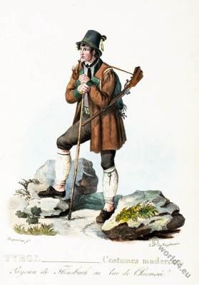 Tyrolean national costumes. Flinsbach folk dress Lake Chiemsee. Hunter costume. Austrian traditional fashion.