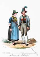 Tyrolean national costumes. Austrian traditional fashion. Zillertal folk dress.