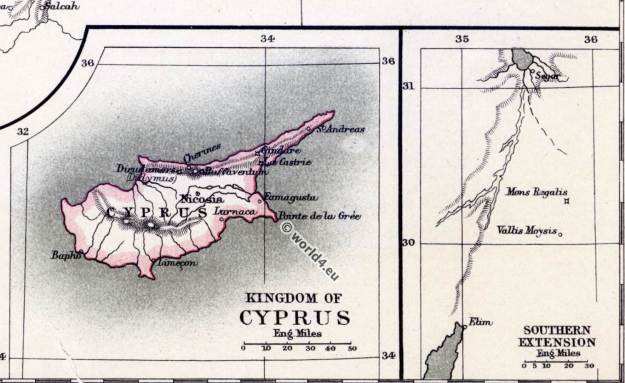 The crusades. Kingdom of Cyprus. Antique Maps, 11th to 13th century