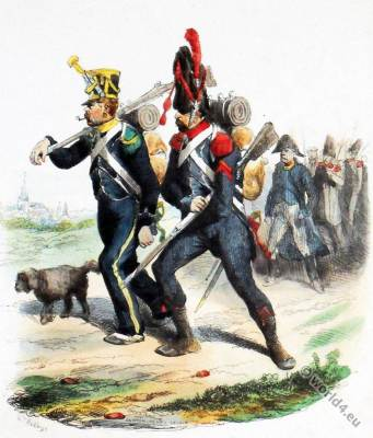 French Light infantry uniforms. Napoleon Imperial Guard. Outfielder. Rifleman uniform.