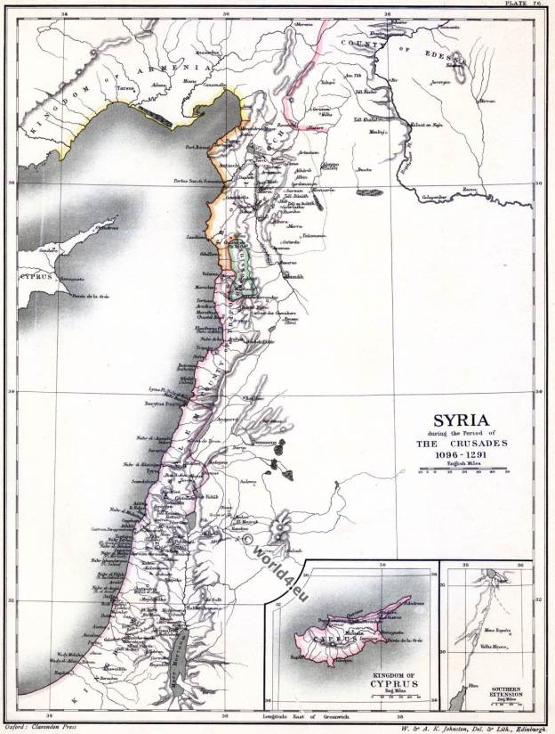 The crusades. Map of Syria. Holy Land. 11th century.