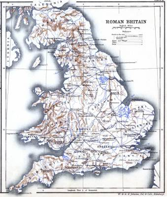 Roman Britain. Ancient map. Historical atlas. Roman empire. England tribes.