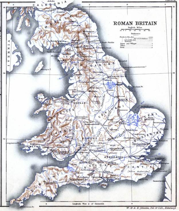 Roman Britain. Ancient map. Historical atlas. Roman empire.