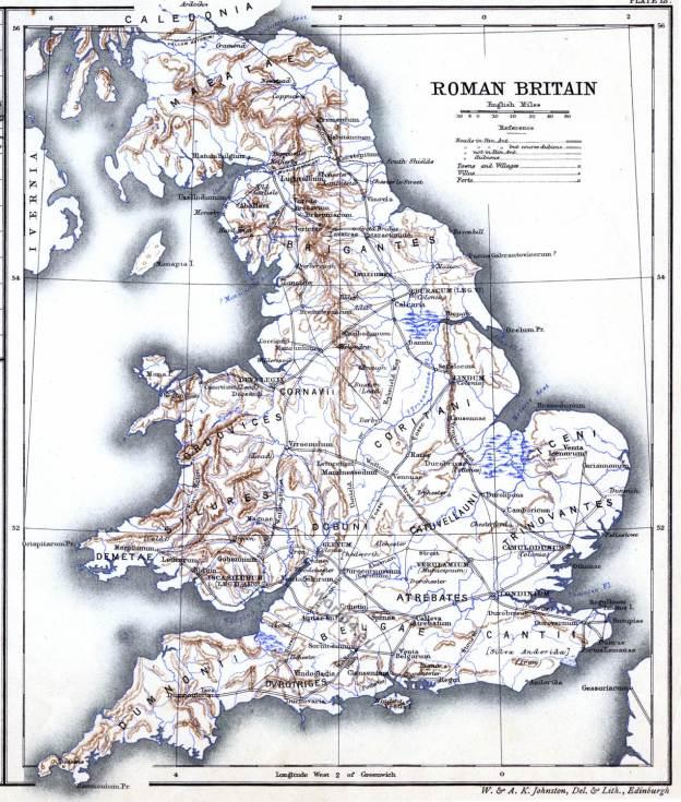 Roman Britain. Ancient map. Historical atlas. Roman empire.
