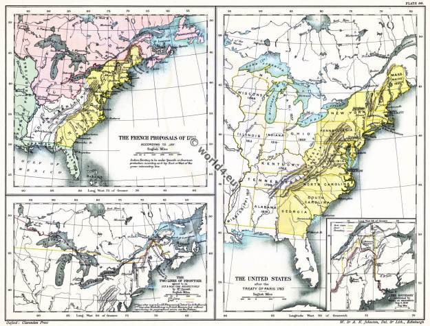Map American Revolutionary War. The United States of America Treaty 1783.