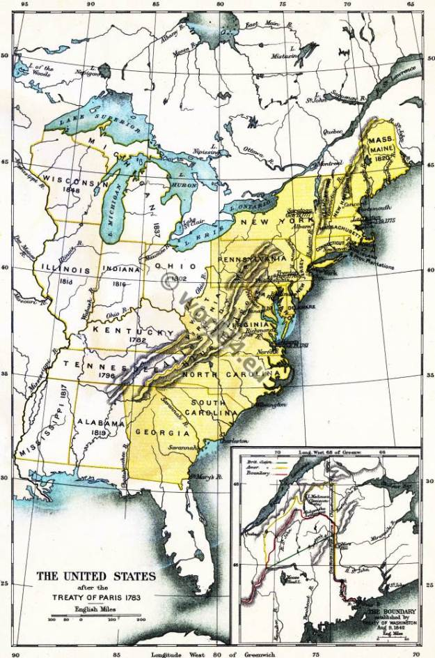 Map United States America. Paris Treaty 1883. American Revolutionary War.
