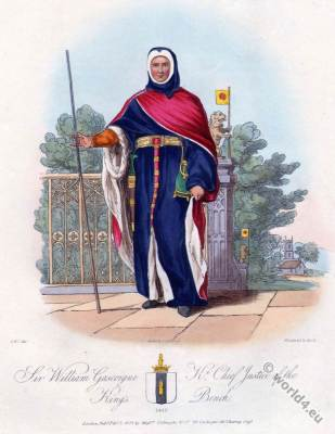 Sir William Gascoigne. England 15th century. Gothic costumes. Middle ages fashion history.