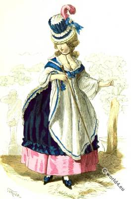 Bourgeoise woman fashion. 18th century rococo fashion.