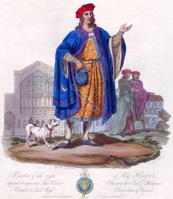 ohn Viscount Beaumont K.G. Earl of Boulogne. 15th century fashion. Middle ages costumes