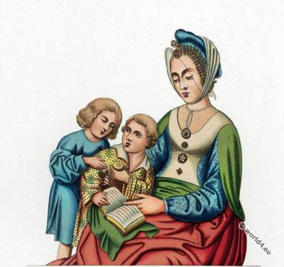 Women and children gothic costumes. 15th century fashion. Middle ages fashion