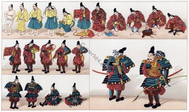 Japan Samurai, Japanese Warriors, Plate Armor, Vibrant Undergarment, Longbow, Swordsman, Traditional Process of Donning Armor