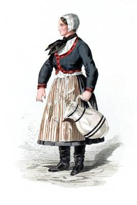 Saxon Slawe peasant costume. Traditional German national costume