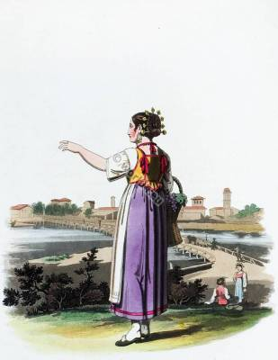 Traditional Italy national costumes. Italian folk dress. The Grand Tour