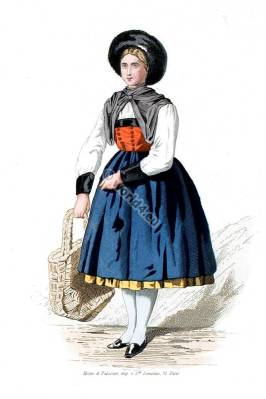 Tyrolean peasant dress. Traditional Tyrol national costumes. Austria folk dress