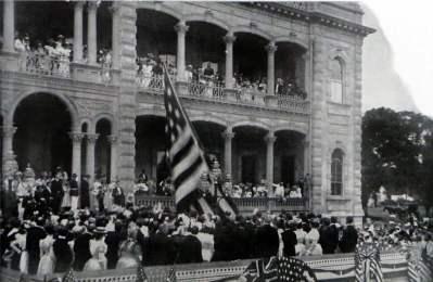 U.S. Flag Annexation Ceremony. Iolani Palace. Hawaii. Honolulu, Hawaii. American colonialism.