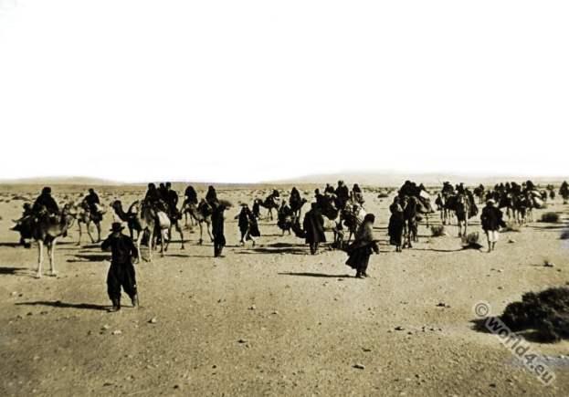 Russian Pilgrims. Sinai desert . Camels. Caravane.