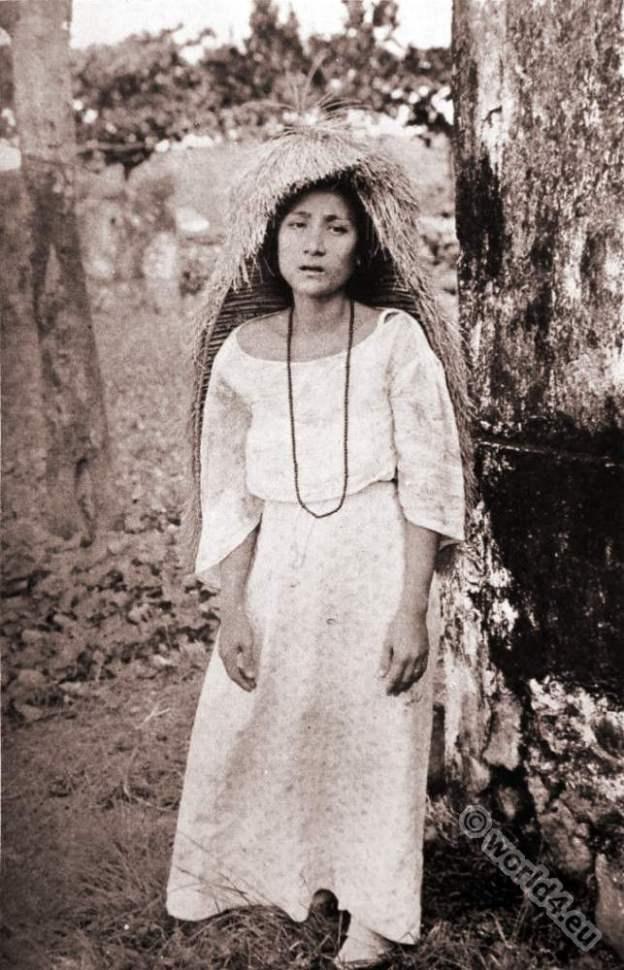 Native Filipina. grass hood. Batan Islands. Philippines indigenous peoples