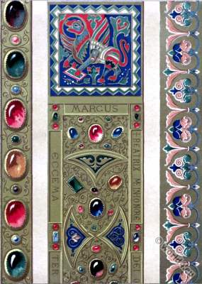 Byzantine bible art. Enamels. precious stones . Chapel of Holy Trinity to Zisa. Palermo. Middle ages Ornament