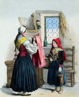 france,Traditional,costume,Cadeaux,Pyrenees,mariée,O'ssau,Eaux-Bonnes,Costumes des Pyrénnées,folk,dresses,Édouard Pingret