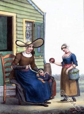 Traditional Dutch costumes, Assendelft, Hendrik Greeven, Théodore Ferdinand Vallon de Villeneuve