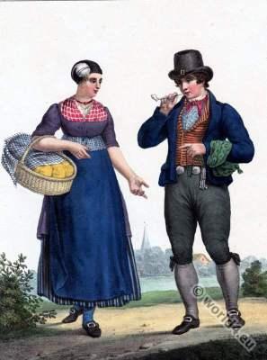 Traditional Dutch costumes, Peasant Woman, Friesland, Leeuwarden,