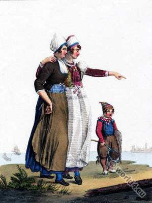 Zuiderzee costumes, Traditional Dutch clothing, Marken, Historical wedding dress