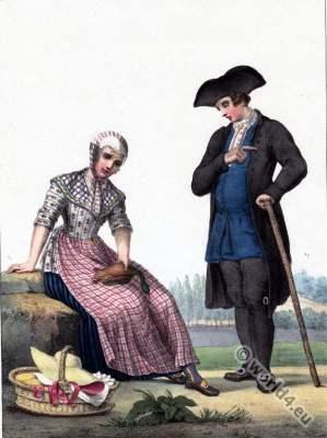 Peasant farmer, Traditional Dutch costumes, Hendrik Greeven, Théodore Ferdinand Vallon de Villeneuve, Walcheren, Zeeland Province