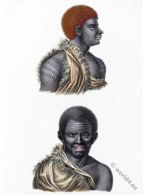 Tasmania, Inhabitants, Van Diemens Land. costumes. Tribes. Indigenous people.