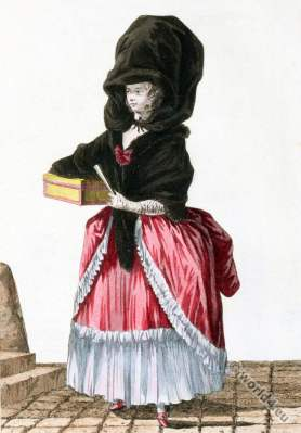 Marchande,modes,farthingale, rococo fashion. Galerie des modes,18th cnetury costumes
