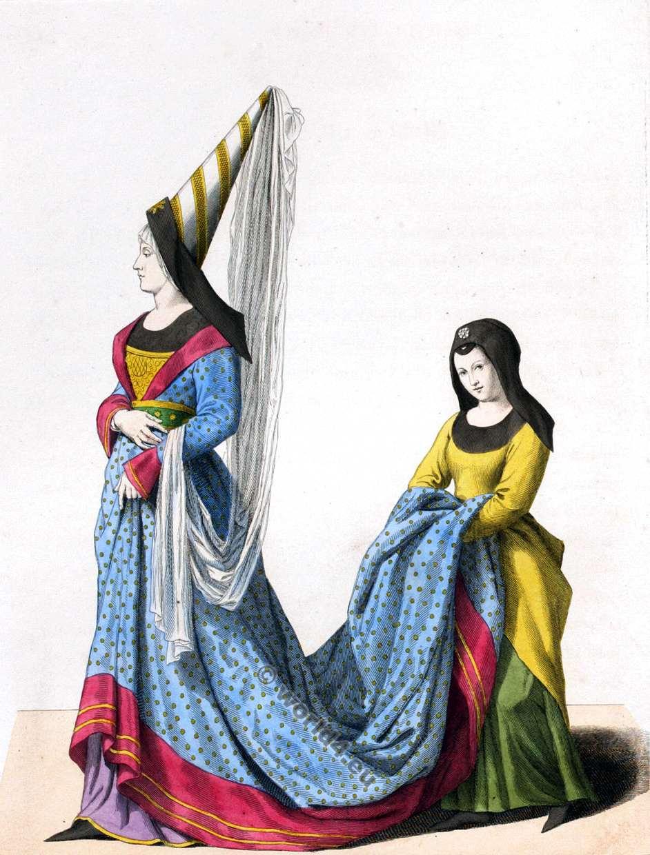 Vêtements Du Moyen Age Pour Les Nobles : vêtements, moyen, nobles, Costumes, Noblesse, 14ème, Siècle., Histoire, Médiévale.
