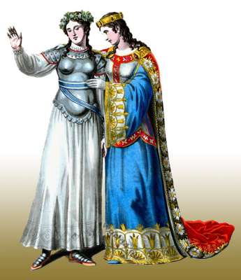 Joan of Arc. Agnes Sorel. 15th century costumes. Berlin Royal Theaters Actors. Virgin of Orlean. Tragedy. Theater costumes
