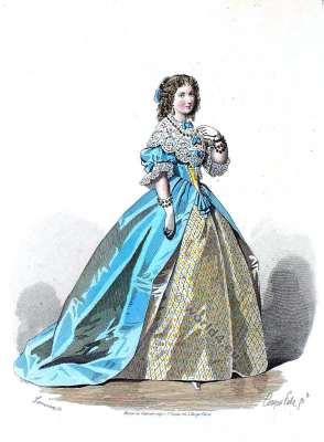 Costume de la Epoque de Louis XIII. Cour robe du 17ème siècle. la mode baroque.