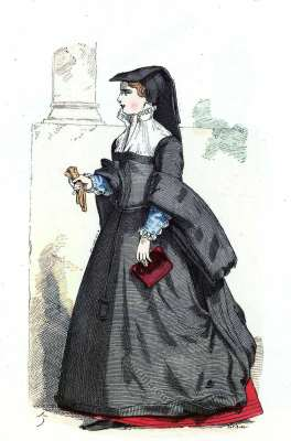French Bourgeois costume. Renaissance mode. 16th century fashion.