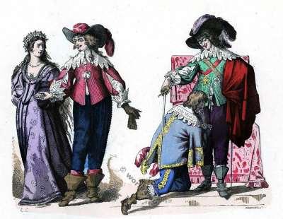 Mousquetaires Costumes. Mariée de Campagne. Gentilhomme conduisant. Chevalier du Saint-Esprit. Louis XIII. Histoire de la mode baroque. 16ème siècle