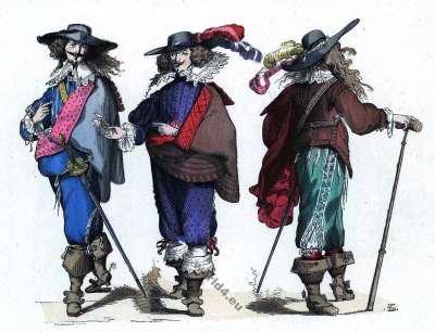 Gentilshommes. Costumes Mousquetaire. Histoire de la mode baroque. 16ème siècle.