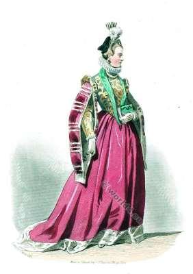 Renaissance fashion. Epoque de Charles IX. 16th century costumes.