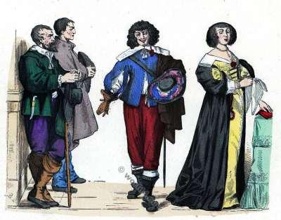 Dame en Grande Tenue. Gentilhomme et Paysans. Histoire de la mode baroque. 16ème siècle costumes.