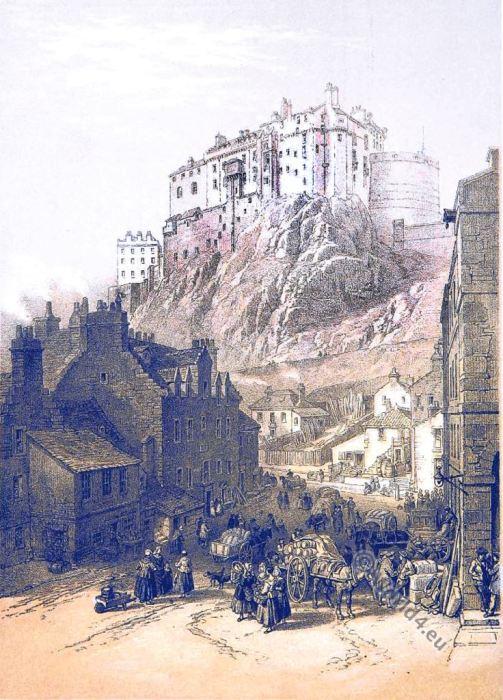 Edinburgh castle. W. L. Leitch. Scotland. 19th century Illustration.
