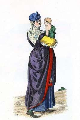 Renaissance fashion history. Bayonne Woman. Region Aquitaine. 16th century costume.