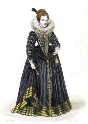 Gabrielle d'Éstreés, Duchesse de Beaufort. Mistress Henry IV. France 16th century fashion. Renaisaance costume history
