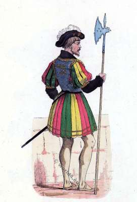 Bodyguard costumes. French king Francis I. Renaissance fashion history. Military uniform.
