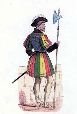 Bodyguard costumes. French king Francis I. Renaissance fashion history. Military uniform.