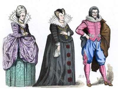 Dame de la cour. Marie de Médicis en Veuve. Gentilhomme. Histoire de la mode baroque. 16ème siècle costumes