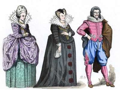 French Court Lady. Marie de Medici as widow. Gentleman ostume. Baroque fashion history