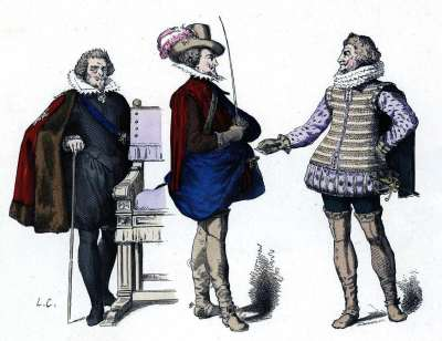 Musketeers. Baroque military uniforms. Costumes France 17th century. Louis XIII modes.