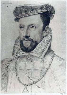 Gaspard II. De Coligny, Comte de Coligny. 16th century. Huguenot wars France. Renaissance fashion history.