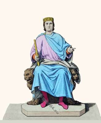 Charles D'Anjou. Roi de Sicile. dynastie royale française capétienne. histoire de la mode médiévale. costumes byzantins. 13 vêtements de siècle.