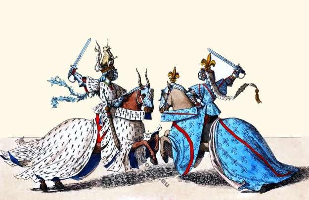 Chefs du Tournoi. 14ème siècle. Chevaliers dans la bataille. Médiéval, gothique. Bourgogne Costume Histoire.