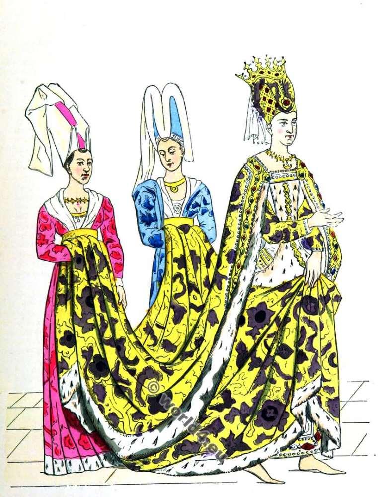 Isabeau de Bavière, La mode du moyen âge, Vêtements du 14ème siècle, Reine française du Moyen Age
