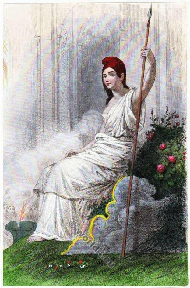 Déesse de la Raison et de l'Être suprême. Révolution Française. Directoire costume.